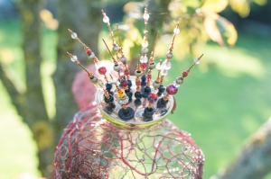 Serpent's crown - made from an old shower head, reclaimed copper wire & beads.  Inspired by Bosch's Satan in Garden of Earthly delights